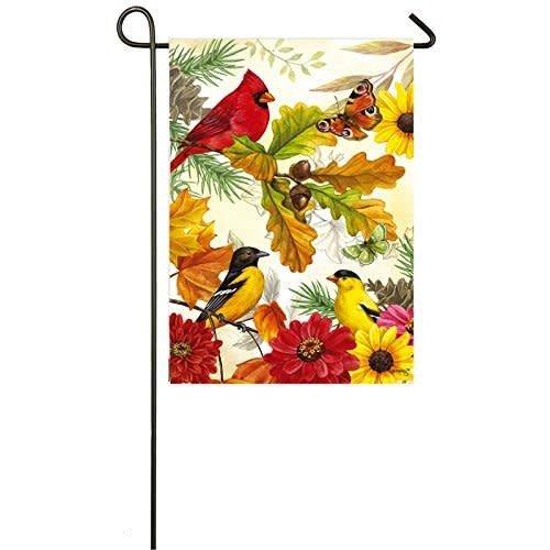 Autumn Birds Garden Satin Flag