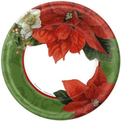 """*Hallmark Christmas Poinsettia 9"""" Dinner Plates 8ct"""