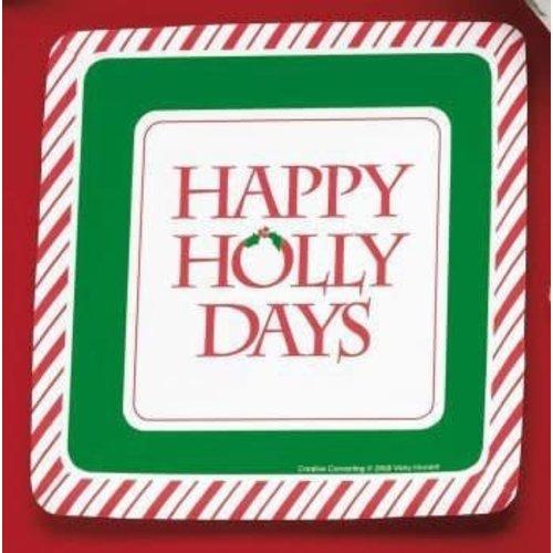 "Happy Holly Days 7"" Square Dessert Plates 8ct"