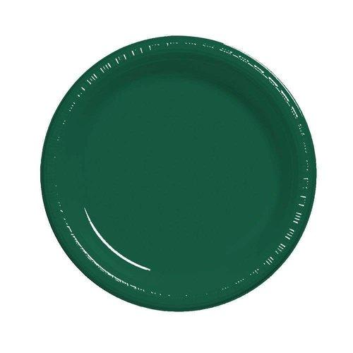"*Hunter Green 7"" Plastic Dessert Plates 8ct"