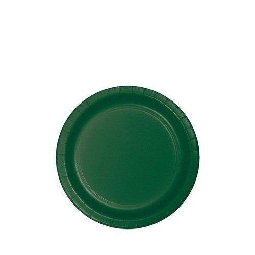 "*Hunter Green 7"" Paper Dessert Plates 24ct"