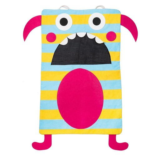 Teal Striped Monster Laundry Eater