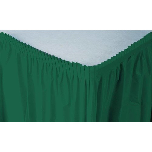 *Hunter Green Plastic Table Skirt 21.5ft Full Wrap Around