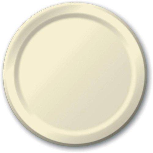 "*Ivory 9"" Round Paper Dinner Plates 24ct"