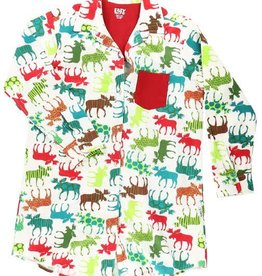 Lazy One Pattern Moose Flannel Nightshirt