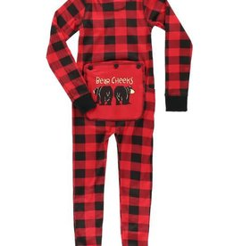 Lazy One Red Plaid Bear Cheeks Kid Flapjack