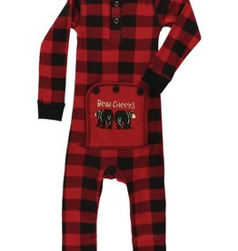 Lazy One Red Plaid Bear Cheeks Infant Flapjack