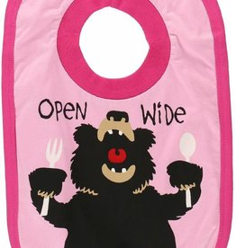 Lazy One Open Wide Girl (Bear Pink) Bib