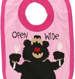 Lazy One Open Wide Girl (Bear Pink) Bib
