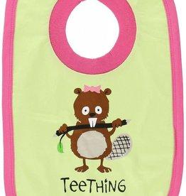 Lazy One Teething Girl (Bright Green/ Pink) Bib