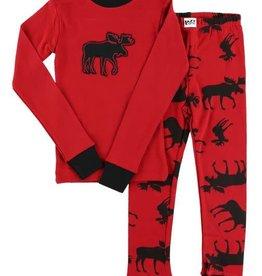 Lazy One Red Classic Moose L/S PJ Set