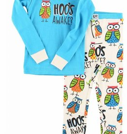 Lazy One Hoo's Awake L/S PJ Set