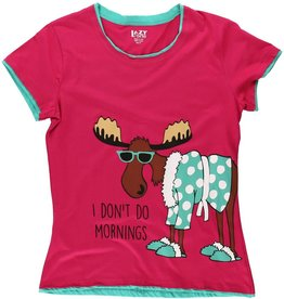 I Don't Do Mornings Moose Fitted PJ Tee