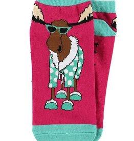 Lazy One Don't Do Mornings Moose Slipper Socks 9-11