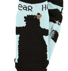 Lazy One Bear Hug Blue Slipper Socks 9-11