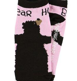 Lazy One Bear Hug Pink Slipper Socks 9-11