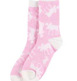 Lazy One Pink Classic Moose Crew Socks 9-11