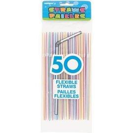 "Plastic Flexible Straws- Assorted Colours- 50pk/8"""