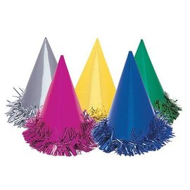 Hats-Cone-Fringed-Multi color-Foil-6pk