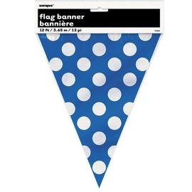 Flag Banner-Royal Blue Dots-12Ft-Plastic