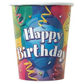 Paper Cups-Happy Birthday Balloons-8pkg-9oz - Discontinued