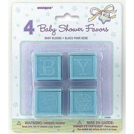 Party Favors-Blue Baby Blocks-4pkg