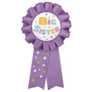 Award Ribbon Baby Shower Big Sister Purple