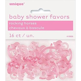 Rocking Horses-Mini-Baby Shower-Pink-Plastic-16pk