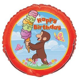 Foil Balloon - Curious George Happy Birthday - 18''