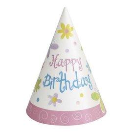 Hats-Cone-Cute Birthday-8pk-Paper