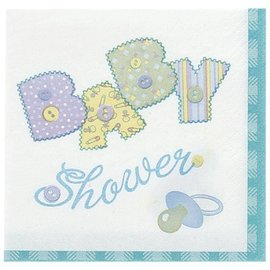 Napkins-LN-Blue Stitching Baby Shower-16pkg-2ply