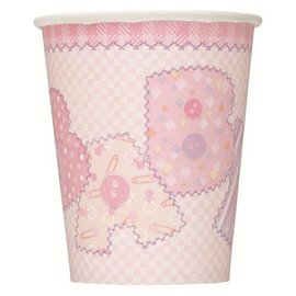 Cups-Baby Pink Stitching-Paper-9oz-8pk - Discontinued