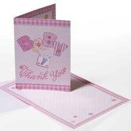 Invitations-Baby Pink Stitching-8pk