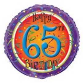Foil Balloon - Lively 65th Balloon - 18''