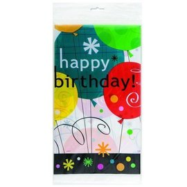 Table Cover-Breezy Bday-Plastic-54'' x 84'' - Discontinued
