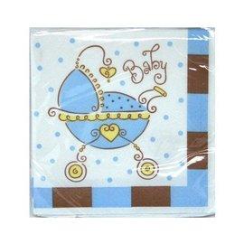 Napkins-BEV-Baby Joy Blue-16pk-2ply - Discontinued