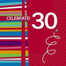Beverage Napkins- 30th Birthday Celebration- 16pk/2ply - Discontinued