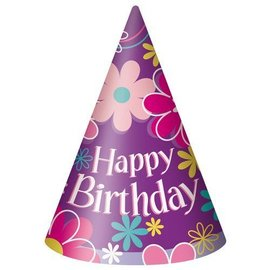 Party Hats-Cone-Blossom Party-8pk-Paper