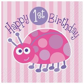 Napkins-Bev-First Birthday LadyBug-16pk-2ply - Discontinued