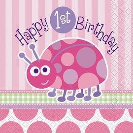 Napkins-LN-1st Birthday Ladybug-16pk-2ply - Discontinued