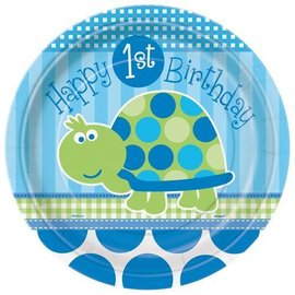 Plates-LN-1st Bday Turtle-8pk-Paper - Discontinued