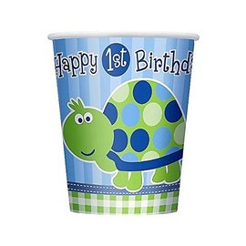 Cups-1st Bday Turtle-Paper-9oz-8pk - Discontinued