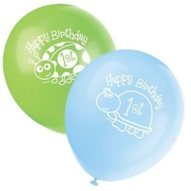 Balloons-Latex-1st Bday Turtle-8pk