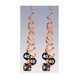 Danglers-Foil Swirl-Life is Great 40th Birthday-2pkg-36""