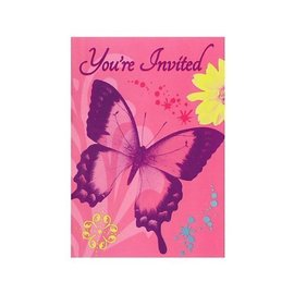 Invitations- Birthday Butterfly- 8pk