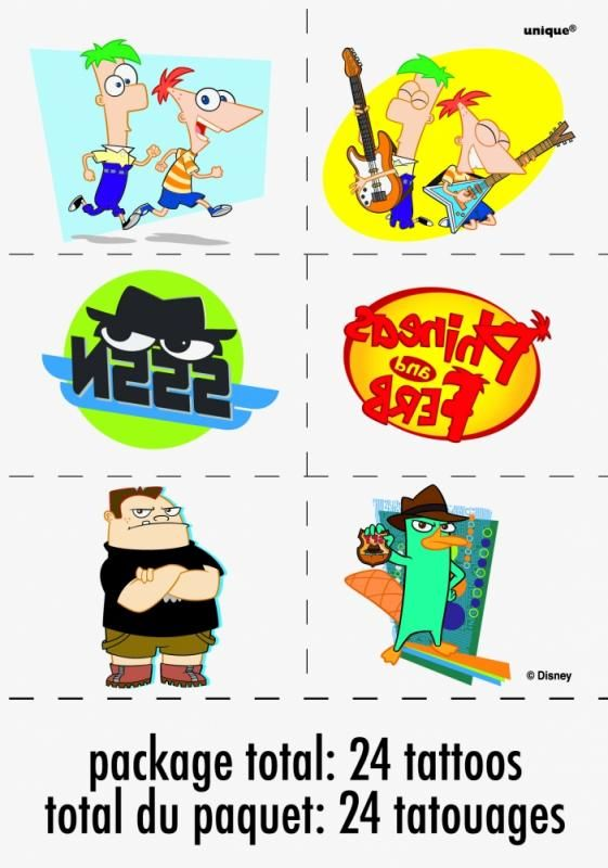 Temporary Tatoos Phineas And Ferb 1pkg 4 Sheets Discontinued