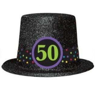 Top Hat 50th Birthday Plastic W Glitter