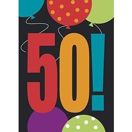 "Invitations- 50th Birthday Cheer- 8pk/5.5""x4"""