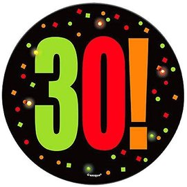 Blinking Button- 30th Birthday Cheer- 1pc/5.5""