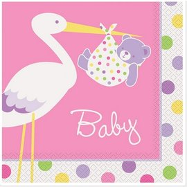 Napkins-LN-Baby Girl Stork-16pk-2ply - Discontinued